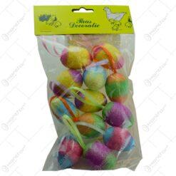Set 12 oua colorate pentru Pasti - Multicolor cu glitter
