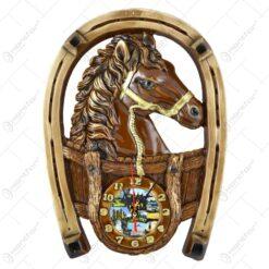 Placheta din ipsos cu ceas Potcoava si cal