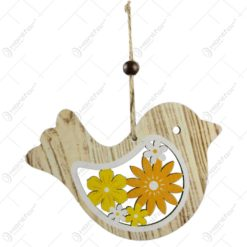 Decoratiune de agatat realizata din lemn in forma de pasare - Design cu flori