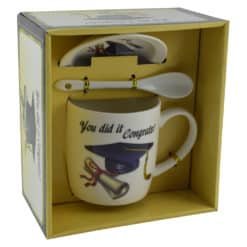 Cana realizata din ceramica cu lingurita si farfurie - Cadou pentru absolvire