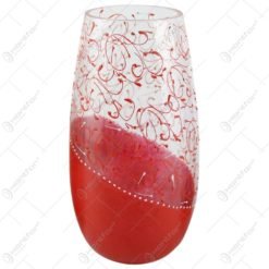 Vaza realizata din sticla - Design cu spirale rosii (Model 2)