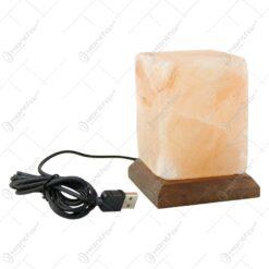Lampa USB din cristale de sare in forma de cub