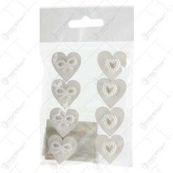 Set 12 decoratiuni realizate din lemn in forma de inima - Design cu margele