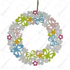 Coronita usa din lemn cu flori colorate