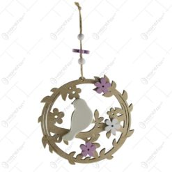 Decoratiune usa din lemn si ceramica - Design cu flori si pasari (Model 3)