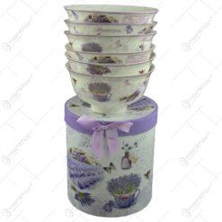 Set 6 boluri pentru servire realizate din ceramica in cutie cadou - Design lavanda (Model 1)