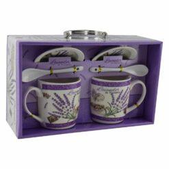 Set cana cu farfurie si lingura realizate din ceramica in cutie - Lavanda Casuta - Diverse modele