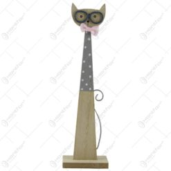 Decoratiune pisica realizata din lemn