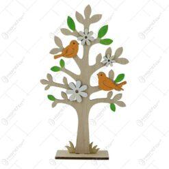 Decoratiune copac inflorit din lemn