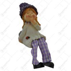 Pereche de figurine copii lavanda din rasina cu picioare textil 9 CM