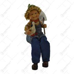 Pereche de figurine gradinari din rasina cu picioare textil