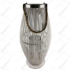 Felinar oval realizat din lemn cu candela de sticla