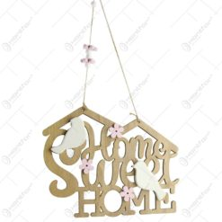"Decoratiune usa ""Home Sweet Home"" din lemn si ceramica"