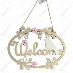 "Decoratiune usa ""Welcome"" din lemn si ceramica cu pasari si flori"