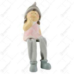 Figurina copil decorativ din ceramica cu picioare textil - Baiat/Fata