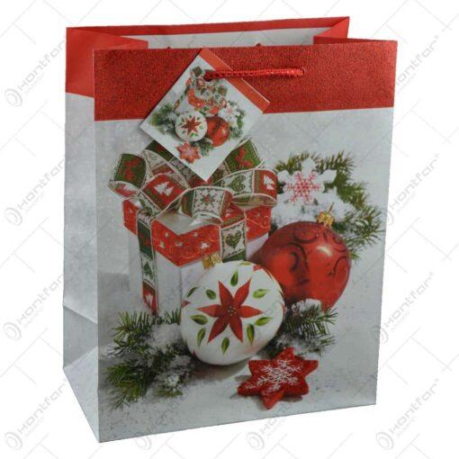 Punga pentru cadouri - Design cu globuri si cadouri de Craciun (Model 1)