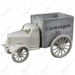 """Suport flori din lemn si plastic in forma de camion """"Flowerpot"""" 21 CM"""