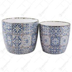 Set 2 ghivece Vintage Mozaic pentru flori din ceramica