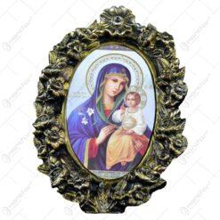 Placheta religioasa cu ornamente florale - Maria cu pruncul