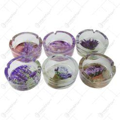 Set 6 scrumiere din sticla cu lavanda