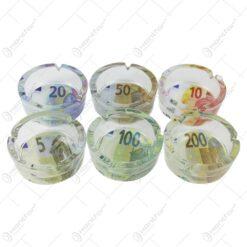Set 6 scrumiere din sticla cu design Euro
