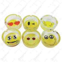Set 6 scrumiere din sticla cu design Smile