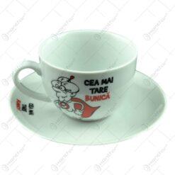 Ceasca cu farfurie - Pentru cea mai tare bunica - Funny Mug