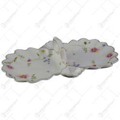 Platou elegant din ceramica cu doua compartimente 25 CM