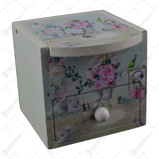 Cutie de bijuterii din lemn cu sertar si oglinda 8x7 CM - Lavanda/Rose