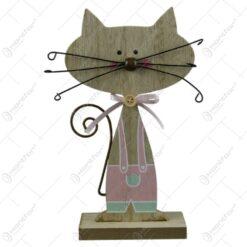 Decoratiune pisica cu mustata din lemn 16x8 CM