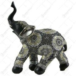 Figurina elefant din rasina negra cu argintiu 14 CM