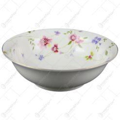 Bol ceramic cu motive florale pentru supe si salate