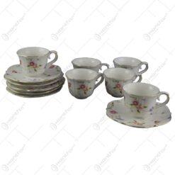 Set de 6 cesti cu farfurii din ceramica - Model elegant
