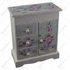 Cutie de bijuterii dulapior din lemn cu patru sertare si oglinda 16x18 CM - Lavanda/Rose