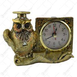 Figurina realizata din rasina in forma de bufnita cu ceas 8 CM - Cadou de absolvire