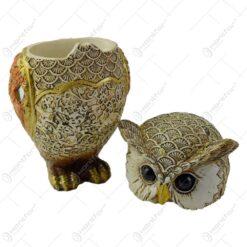 Figurina bufnita/Cutiuta din rasina aurie 14 cm