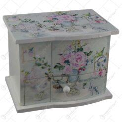 Cutie de bijuterii muzicala din lemn cu sertar si oglinda 15x11 CM - Lavanda/Rose