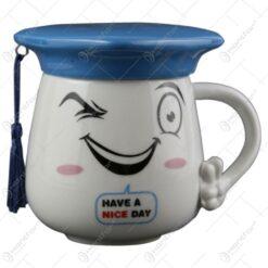 Cana realizata din ceramica cu capac - Cadou de absolvire