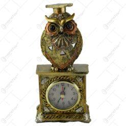 Ceas de masa din rasina decorat cu bufnita 20 CM - Cadou de absolvire