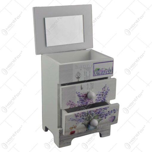 Cutie de bijuterii dulapior din lemn cu doua sertare si oglinda 12x9 CM - Lavanda/Rose