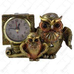 Ceas de masa din rasina decorat cu doua bufnite 8 CM