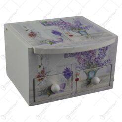 Cutie de bijuterii din lemn cu doua sertare si oglinda 11x7 CM - Lavanda/Rose