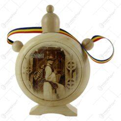 Plosca din lemn cu poze vechi Romania/Vlad Tepes 23 CM