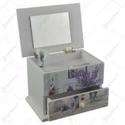 Cutie de bijuterii muzicala din lemn cu sertar si oglinda 13x9 CM - Lavanda/Rose