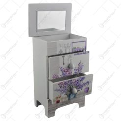 Cutie de bijuterii dulapior din lemn cu doua sertare si oglinda 19x11 CM - Lavanda/Rose