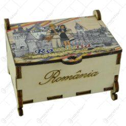 Cutie decorativa din lemn 9x6 CM - Romania