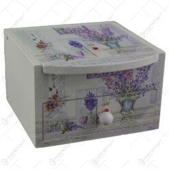 Cutie de bijuterii din lemn cu sertar si oglinda 9x6 CM - Lavanda/Rose