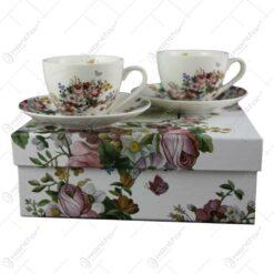 Set de cesti cafea 2 din portelan 90 ml - Vintage Flowers white