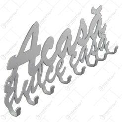 Suport pentru chei din metal alb Acasa dulce casa 24x10 CM