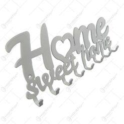 Suport pentru chei din metal alb Home sweet home 25x10 CM
